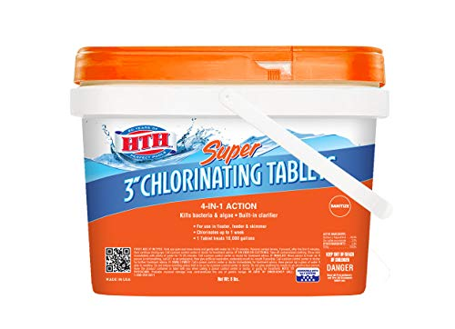 HTH 42043 Super 3  Tablets Swimming Pool Chlorine, 8 lbs
