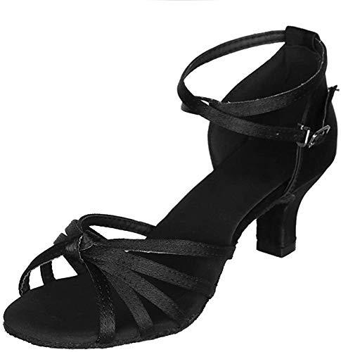 YKXLM Mujeres&Niña Zapatos latinos de baile Zapatillas de baile de salón Salsa Performance Calzado de Danza,ES217-5,Negro color,EU 39