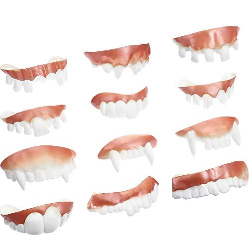 12 Pieces Gnarly Teeth Gag Teeth Ugly Fake Teeth Bob Teeth Vampire Denture Teeth for Halloween Costume Party Favors 12 Styles (Classic Style)