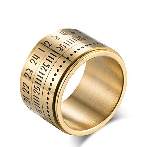 Eenvoudige wolfraam stalen ring mannen vrouwen mode roterende tijd Arabische cijfers gouden trend Punk Hiphop creatieve gift liefhebbers vintage 10