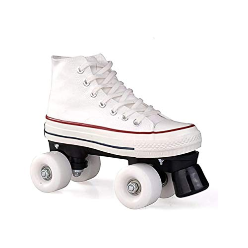 Zapatos Rodantes con 4 Rollos Patines De Lienzo Scooter Patines con Doble Fila High Sneaker Style Style Damas and Girls, Weiß-43