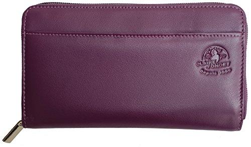 CLAIRE-FONCET Grande CLEORE Damenbrieftasche, aus echtem Rindsleder, weich und geschmeidig, zentrale runde Reißverschlussöffnung, 8 Kartenfächer, 4 große Fächer (LILA)