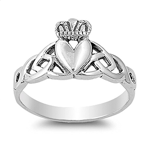 Claddagh Celtic Knot Heart Filigree Ring New 925 Sterling Silver Band Size 7