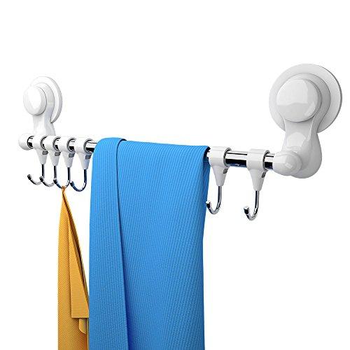 Handtuchhalter Mit Haken, Handtuchhalter Haken Bad Wand Ohne Bohren Saugnapf Selbstklebend Edelstahl Hakenleiste, Handtuchhalter Halterung mit 6 Haken, Handtuchhalter Hakenleiste Küche für Geschirr