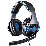 Auriculares para juegos e-sports, auriculares para computadora montados en la cabeza, auriculares con sonido envolvente de 360 grados de 7.1 canales, auriculares con micrófono con cancelación de r