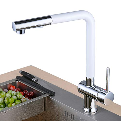 Hochdruck Wasserhahn Küche ausziehbar | 360° drehbar Küchenarmatur mit 2 Strahlarten | Messing Armatur Einhebelmischer Spültischarmatur Mischbatterie für Küche Weiß