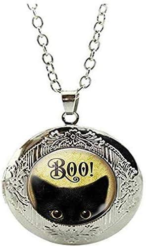 Halloween Black Cat Jewelry Cute Kitten Locket Necklace Art Picture Jewelry