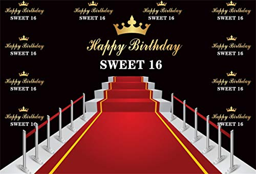 Yeele 7x5ft Sweet 16 Birthday Backdrop Red Carpet Event for 16 Birthday Party Photography Backdrop Happy 16 Birthday Party Table Decoration Son Student Portrait Photoshoot Props Vinyl Wallpaper