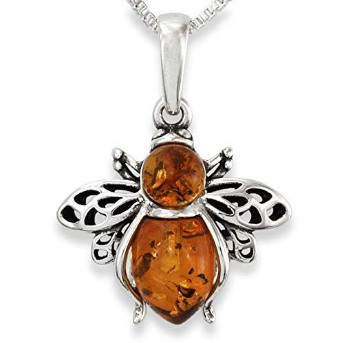 Sterling Silver & Natural Baltic Honey Amber BUMBLE BEE Pendant & Necklace