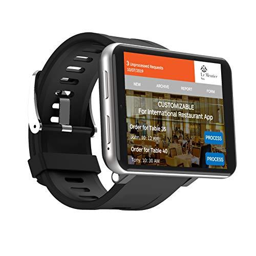 """4G Smart Watch Orologio Sportivo GPS con Fotocamera da 5MP HD +2700mah Batteria Grande + 2.8""""Display LCD Smartwatch WiFi Pedometro della Frequenza Orologio Telefonocon SIM Slot (Argento, 1+16GB)"""