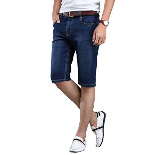 Pantalones Cortos de Mezclilla para Hombre Pantalones Cortos de Mezclilla elásticos Informales de Verano Pantalones Cortos de Mezclilla Casuales Sueltos y cómodos de Todo fósforo 28