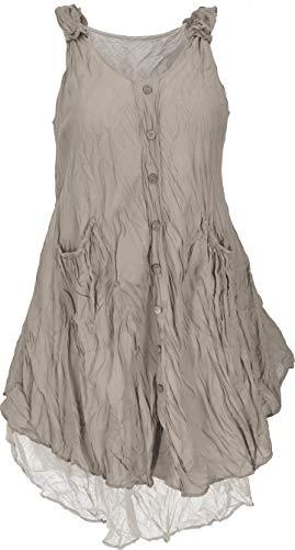 GURU SHOP Krinkelkleid, Lagenkleid, Minikleid, Sommerkleid, Strandkleid, Damen, Taupe, Baumwolle, Size:42, Kurze Kleider Alternative Bekleidung