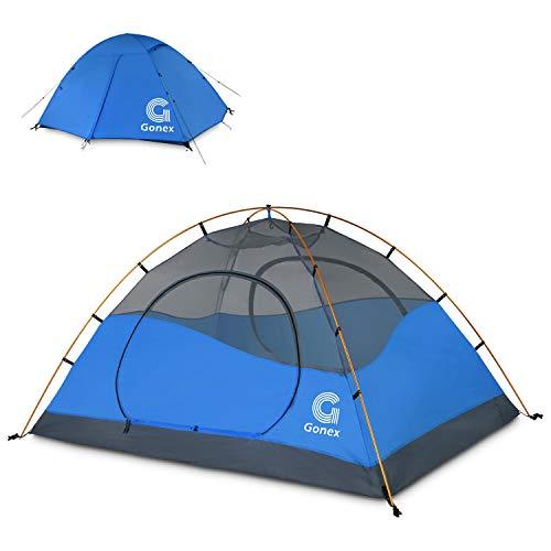 Gonex Tenda da Campeggio, Tenda a Cupola per 2 Persone, Antivento e Impermeabile, per 3 Stagioni, Perfetta per Campeggio, Trekking, Escursioni con Zaino in Spalla e Alpinismo, Facile da Montare