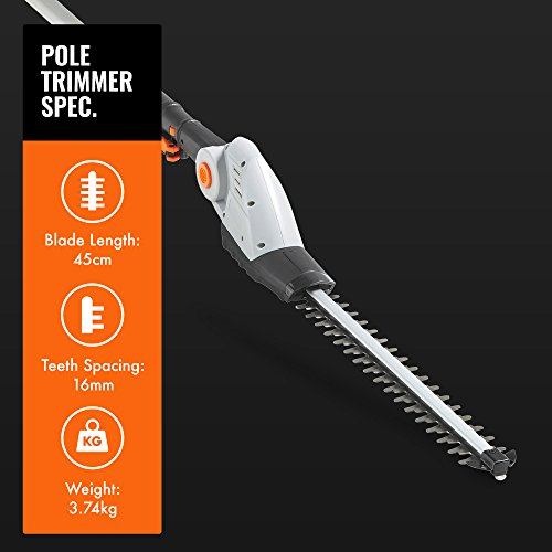 VonHaus Cordless Pole Hedge Trimmer with 20V MAX Battery, Charger, Shoulder Strap & Blade Cover - Includes Dual Action Laser Cut Blades, 135° Adjustable Head & Extendable Reach - 3.8kg