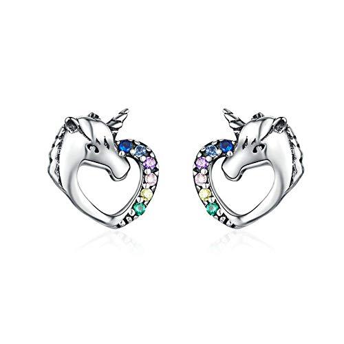 Mleyrx Les Boucles d'oreilles en Argent Sterling s925 et Zirconium sont des Boucles d'oreilles Licorne pour Femmes, la Combinaison Parfaite de la Mode et du Charme.