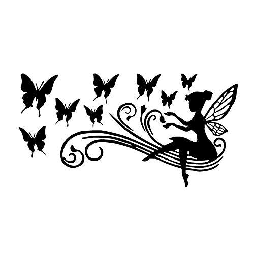 Pegatina para parachoques para coche, creatividad, diseño de ángel y niña, mariposa, flores, automóviles, motocicletas, accesorios exteriores, vinilo impermeable, 17 x 9 cm (nombre del color: láser)