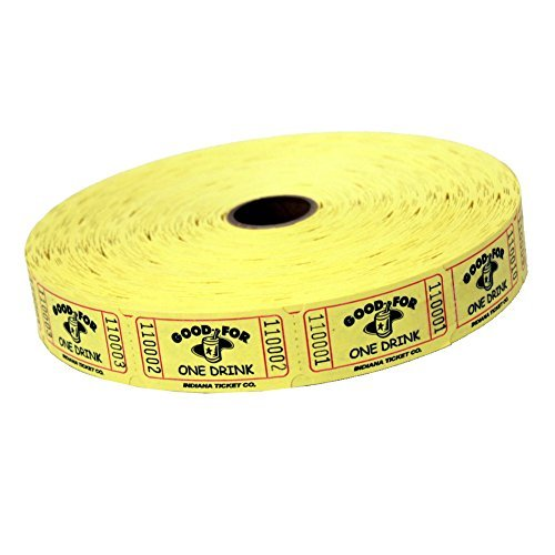 Yellow Good For One Drink Ticket Roll : roll of 2000