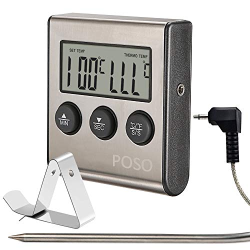 Candy Thermometer Oven Cookie Kitchen Liquid Meat Grill Beef Bread Cakes BBQ Food Grade Probe with Heat-Proof Cable and Holder (Silver)