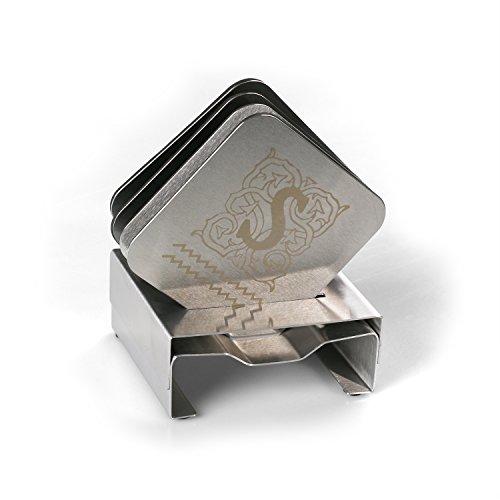 Unbekannt Personalisierte 4-Stuck Bierdeckel Edelstahl – Kostenlose Gravur – Super für die Bar und Küchen
