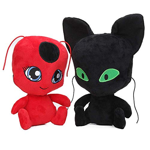 Levin_Art 2 Stück 30 cm Ladybug Plagg and Tikki Plüsch Soft Stuffed Doll