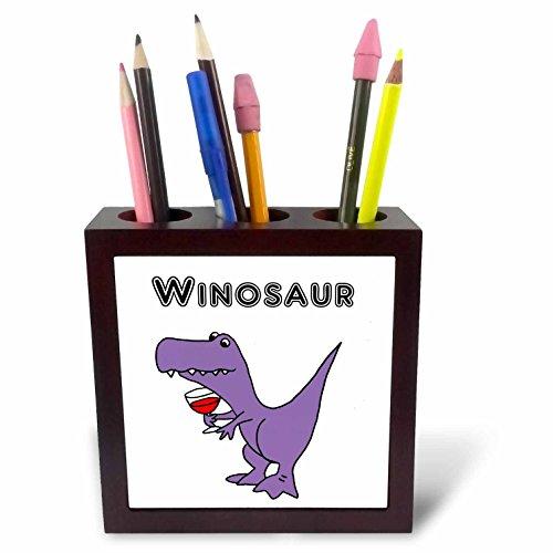 3dRose 252605 PH 1 5 grappige met Trex dinosaurus wijn te drinken, winosaur-plaat met houder, violet