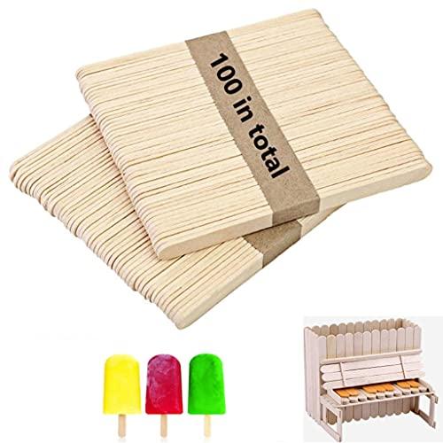 Jingyukj Palitos de Madera,Palos helado,Kit de 100 Palitos de Madera DIY Palos madera manualidades,Cera Depilatoria Profesional Depresores de Madera para Depilación