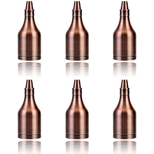 GreenSun LED Lighting 6er Lampenfassung E27 Weinflasche Vintage Fassung Metall Look Nostalgie Sockel Retro Lampenhalter Industrie Look für Pendelleuchte, Rosa Gold