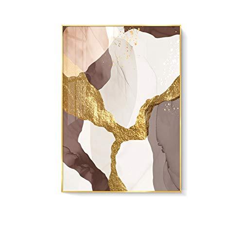 YGLONG Cuadro En Lienzo Pinturas de impresión de Lona de mármol Abstracta Brown Oro Foil Poster Morden Wall Art Fotos en Lienzo Sala de Estar Oficina Decoración Cuadros Decoracion ⭐