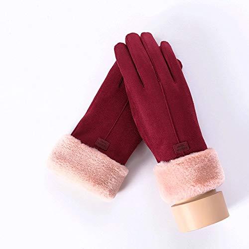 Nuevo Invierno Mujer Encaje Cálido Cachemira Tres Costillas Lindo Oso Mitones Doble Grueso Felpa Muñeca Mujeres Pantalla Táctil Guantes de Conducción-C Red