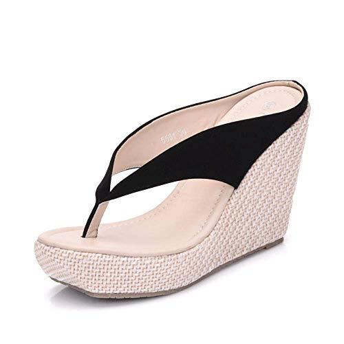 Zapatos de casa de secado rápido con puntera abierta, pendientes con chanclas, pastel de esponja con plataforma zapatillas-negro_38, sandalias de dedo abierto para mujer fangkai77