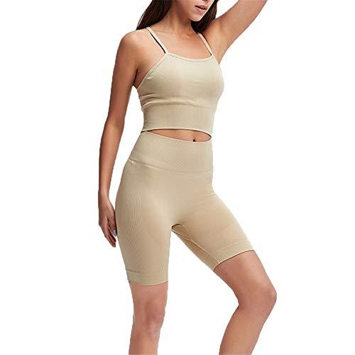 Mujer Mallas Leggins Top Conjuntos, Juego de entrenamiento sin fisuras de las mujeres con trajes de 2 piezas de cintura alta yoga gimnasio pantalones cortos leggings sexy espagueti correa cruce traser