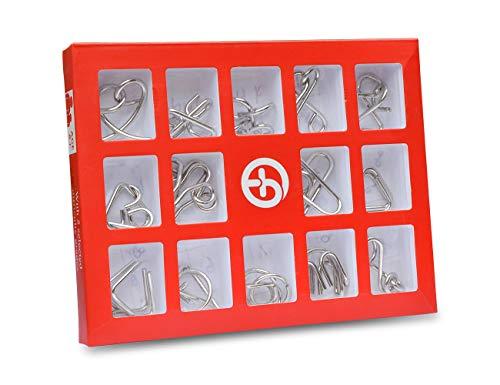 iGuerburn Metalldrahtpuzzles Aktivität für Demenz Alzheimer-Senioren Ältere Produkte mit Gedächtnisverlust Halten Sie Hände beschäftigt Spiel Spielzeug Geschenke (15set, rot)