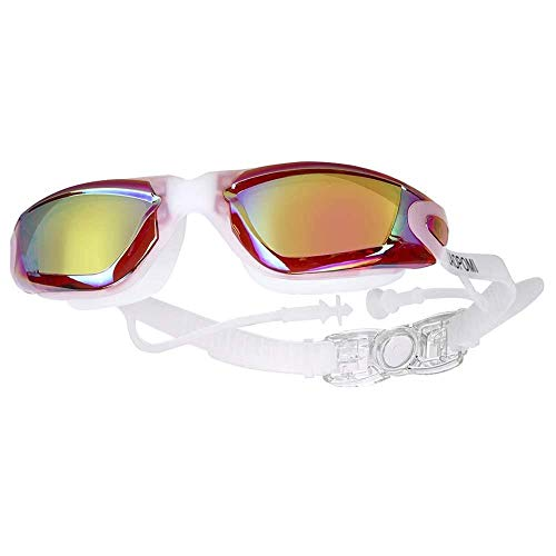 SPFCJL Myopia natación Gafas Earplug Profesional Adulto Silicone Swim Gorra Piscina Gafas Anti Niebla Hombres Mujeres Mujeres Ópticas Eyewear Impermeable (Color : Red)