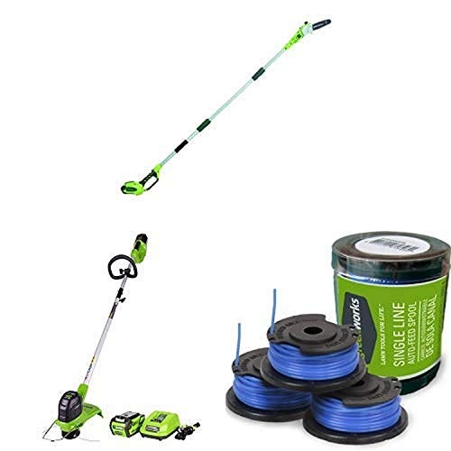 Read About Greenworks 8.5' 40V Cordless Pole Saw, 2.0 AH Battery Included 20672 with  12-Inch 40V Co...