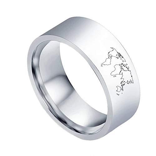 Ring mannen en vrouwen titanium staal creatieve wereld kaart patroon ring kostuum accessoires vakantie cadeau de perfecte gift No9 ZILVER