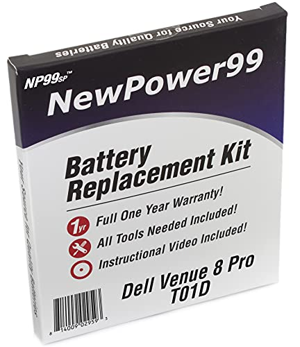 Battery Kit with Battery, Video and Tools for Dell Venue 8 Pro T01D from NewPower99