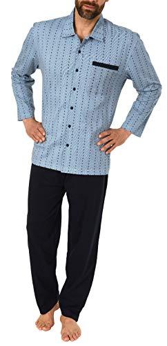 Eleganter Herren Pyjama Schlafanzug Langarm zum durchknöpfen - auch in Übergrössen bis Gr. 70-191 101 90 512, Größe2:56, Farbe:hellblau