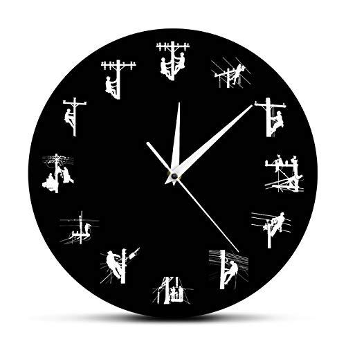 Reloj de Pared Linemen Climbing Pole Restoring Power Silhouette Reloj de Pared Lineman Skull Reloj Decorativo Jubilado Journeyman Skull Lovers Gift Wall Sticker Room Decoración del hogar
