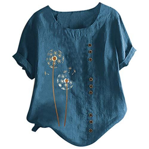 Yowablo Top Femmes O-Neck Manches Courtes imprimé Floral Boutons Coton Lin Vintage (M,2Bleu)
