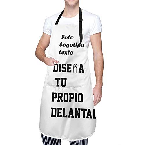 Delantales personalizados para mujeres o hombres - Agregue su foto, texto o nombre - Delantal personalizado con 2 bolsillos (1 pieza) Idea de regalo BBQ disponible