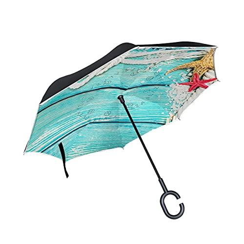 Paraguas plegables Hipster Colorful Seashells Paraguas plegables inversos a prueba de viento UV con mango en forma de C