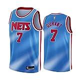 Wo nice Jerseys De Baloncesto De Los Hombres, Brooklyn Nets # 7 Kevin Durant Uniformes De Baloncesto De La NBA Bordado Camisetas Sin Mangas Camisetas Deportivas Al Aire Libre Tops,Azul,M(170~175CM)