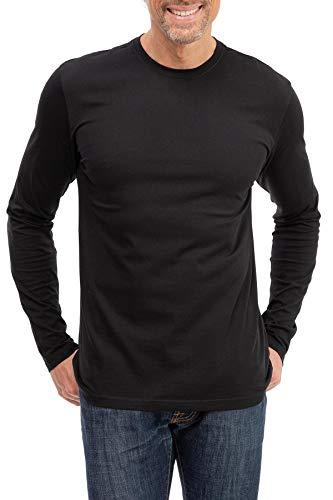 Happy Clothing Herren Langarmshirt Longsleeve T-Shirt Rundhals Top S M L XL 2XL 3XL, Größe:M, Farbe:Schwarz