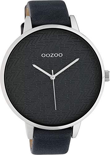 Oozoo Modische Damenuhr mit Lederband Quarz 45 MM Grau/Grau C10409