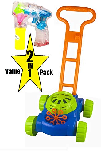 Oojami 2 in 1 Value Pack Bubble Lawn Mower for Kids and Bubble Gun - Automatic Bubble Machine Best Toys for Toddlers Includes 4 x Bottles of Solution & 4 x Wands - for Boys & Girls Ages 3+