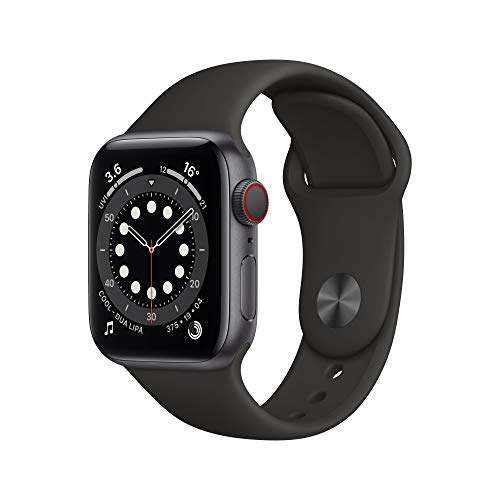 Apple Watch Series 6 GPS + Cellular, 40mm Space Gray Aluminium Case with Black Sport Band - Regular
