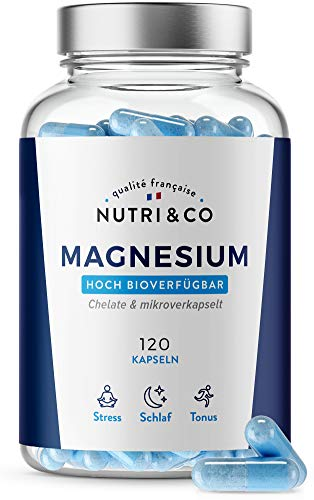 Magnesium Pflanzlich + Vitamin B6 bioaktiv I Magnesium Komplex: Magnesium Malate & Liposomal | Bessere Aufnahme als Magnesiumcitrat | 120 Kapseln Hochdosiert | Laborgeprüft | Vegan | Nutri&Co