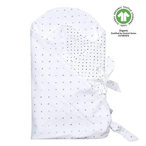 Motherhood Baby Einschlagdecke GOTS zertifiziert aus BIO-Baumwolle Puckdecke Wickeldecke von Motherhood - Kleckse grau und schwarz