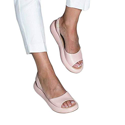 Fishyu Summer Cuñas Sandals Open Dedo del Pie Platform Ascensor Mujer Sandals Playa Fiesta - Fucsia, 36