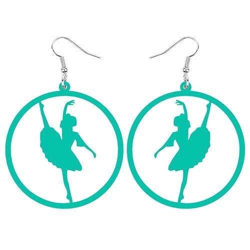 ESIVEL Orecchini a forma di ballerino di danza classica con cerchio rotondo grande in acrilico Orecchini pendenti con decorazioni pendenti Gioielli per donne Accessori regalo per ragazze Azzurro